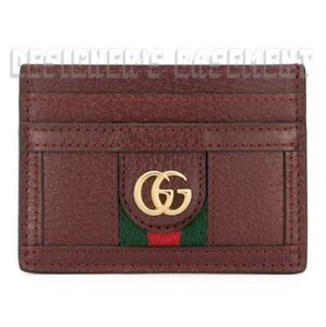 GUCCI burgundy OPHIDIA leather green-red web Gold MARMONT Card Case NIB Authentc