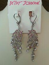 Betsey Johnson feather earrings in silver tone