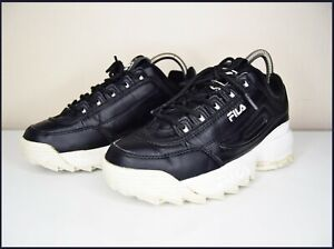 Fila Disruptor II low size 4 trainers sneakers black white leather platform