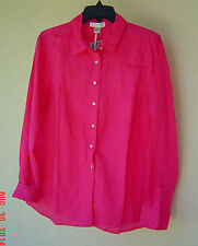 NWT KENAR PINK LINEN COTTON FITTED SHIRT BLOUSE SIZE LARGE