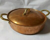 Vintage Copper Brass French Cocotte Stew Cassrole Coverd Coking Pot With Lid