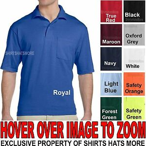 Jerzees MENS Polo Shirt with POCKET Cotton/Poly Blend with SPOTSHIELD S,M,L,XL