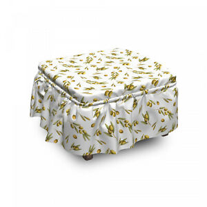 Ambesonne Nature Ottoman Cover 2 Piece Slipcover Set and Ruffle Skirt