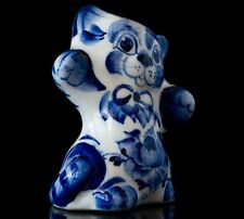 Porcelain cat statue, Russian gzhel art miniature blue white animal figurine