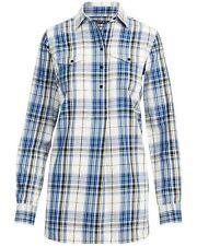 Lauren Ralph Lauren Womens Plaid Cotton Twill Shirt Medium Navy Multi