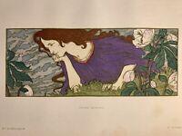 Eugène Grasset Gravure Art Nouveau Lithographie femme Et fleurs 1898