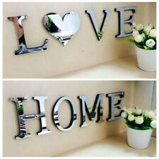 4 Letters Love Home Furniture Mirror Tiles Wall Stickers Self-Adhesive Art Decal