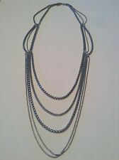 Signed FOSSIL Brand Jewelry Multi Strand Long Necklace Siver Tone Layered Chains