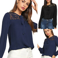 Womens Lace Solid Long Sleeve Blouse Bandage Loose T-shirt Tops Casual OL Shirts