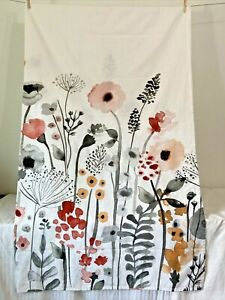 THRESHOLD Floral Wave Watercolor 100% Cotton Shower Curtain 72x72 Keyhole
