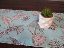 TABLE RUNNER / TROPICAL LEAVES AQUA  FREE POST