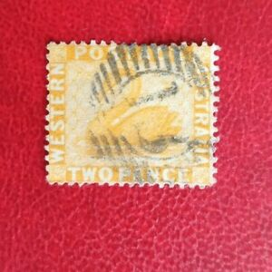 AUSTRAILA STATE WESTERN AUSTRALIA  POSTAGE STAMP TWO PENCE 2d SWAN USED 13 CAN
