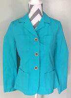 TALBOTS Womens Blue Cyan Cotton Button Coat Jacket Size 8P Petite PM Medium