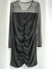 Sz 16 SHEIN DRESS, BLACK RUCHED FRONT & OPEN LACE ARMS