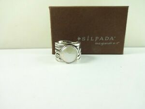 Sterling Silver Silpada Woven Wide Band Coin Pearl Ring Size 7   R1542