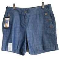 Express NWT 100% Cotton Chambray Tailored Women Blue Shorts Size 4