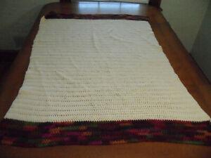 Handmade Knitted Lap Throw Lap Blanket Afghan 32 in x 45 in Cream Purple Brown