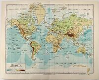 Original 1894 Physical Map of the World by Meyers