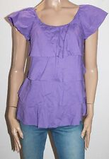 edc ESPRIT Designer Purple Frill Short Sleeve Blouse Top Size XS BNWT #SW98