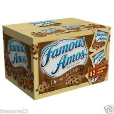 2 BOXES Famous Amos Chocolate Chip Cookies 42 Snack Packages Per Box 84 TOTAL