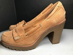 Sperry top Sider women's shoes loafer platform heel leather upper brown size 7.5