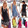 Summer Women Boho Floral Sleeveless Sundress Beach Evening Party Dress Plus Size
