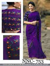 New Designer Bollywood Saree Fabric Georgette Party wear Sari Embroidered Blouse