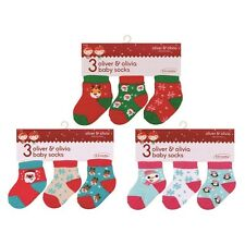 PACK OF 3 NEWBORN BABY 1ST CHRISTMAS NOVELTY SOCKS BOY GIRL UNISEX SANTA GIFT