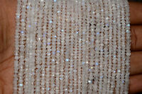 "B-6/4 Natural Rainbow Moonstone Gemstone Rondelle Faceted Beads 4mm 13"" Strand"