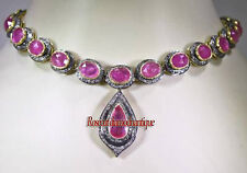 Diamond Sterling Silver Wedding Ruby Necklace Art Deco 15.84ct Antique Rose Cut