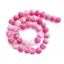 Frosted Cracked Agate Round Beads 6mm Fuchsia 62+ Pcs Gemstones Jewellery Making