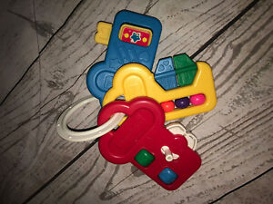 Vintage Fisher Price Baby Activity Keys Rattle Teether Spinner Removable Ring
