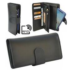 Damen Portemonnaie RFID Geldbörse Handytasche Leder Geldbeutel 17Karten schwarz