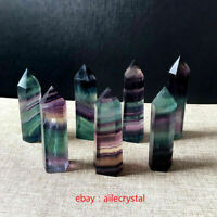 2PCS Natural Fluorite Quartz Crystal Stone Point Healing Hexagonal Wand
