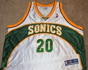 VTG AUTHENTIC GARY PAYTON SEATTLE SONICS SUPERSONICS NBA REEBOK JERSEY 56 SEWN!