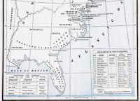 1893 United States Map 13 Colonies Spanish Florida Dakota Territory Sioux RARE