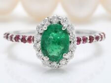 1.65 Carat Natural Emerald Ruby and Diamonds in 14K White Gold Women's Ring