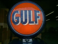 gas pump globe GULF reproduction 2 glass faces & LIGHT STAND NEW GREAT FOR GIFTS