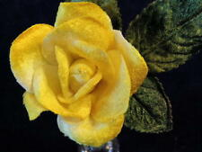 "Millinery Flower Velvet Yellow Rose 2"" for Boutonniere Hat Wedding or Hair KM3B"