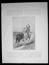 1886 Pic. Australasia Antique Print of Australian Stock Man on a Cattle Run