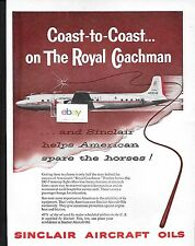 AMERICAN AIRLINES 1958 DOUGLAS DC-7 ROYAL COACHMAN COAST TO COAST SINCLAIR AD