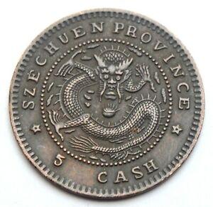 CHINA SZECHUEN 5 CASH 1903-1905 DRAGON OLD COPPER COIN