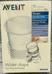 Avent Tempo Wide Pre-Formed Liners For Tempo Nurser 8 Oz 50 Count Factory Sealed
