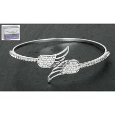 GIFT BOXED Equilibrium Platinum Plated Angel Wings Diamante Bangle 59674
