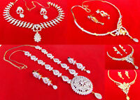 Ethnic CZ AD Bollywood Fashion Gold & Silver Tone Necklace Earrings Jewelry Set