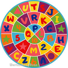 """8x8  Round Rug Educational Kids Rug ABC Letters & Numbers School Time 7'3"""" Rd"""