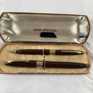 Vintage Sheaffer Fountain Pen Pencil Set Brown White Dot Gold Trim 14K Nib