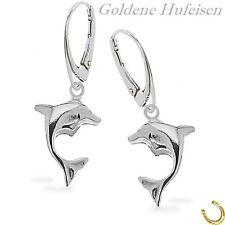 Mädchen Delfin Brisur 925 Echt Silber Ohrhänger Delphin Kinder Ohrringe
