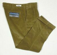 Roundtree & Yorke Men's Corduroy Pleated/Cuffed Casual Pants Blue, Brown New