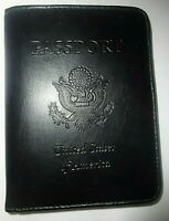 Passport Wallet Black Faux Leather Credit Card Slots Bifold